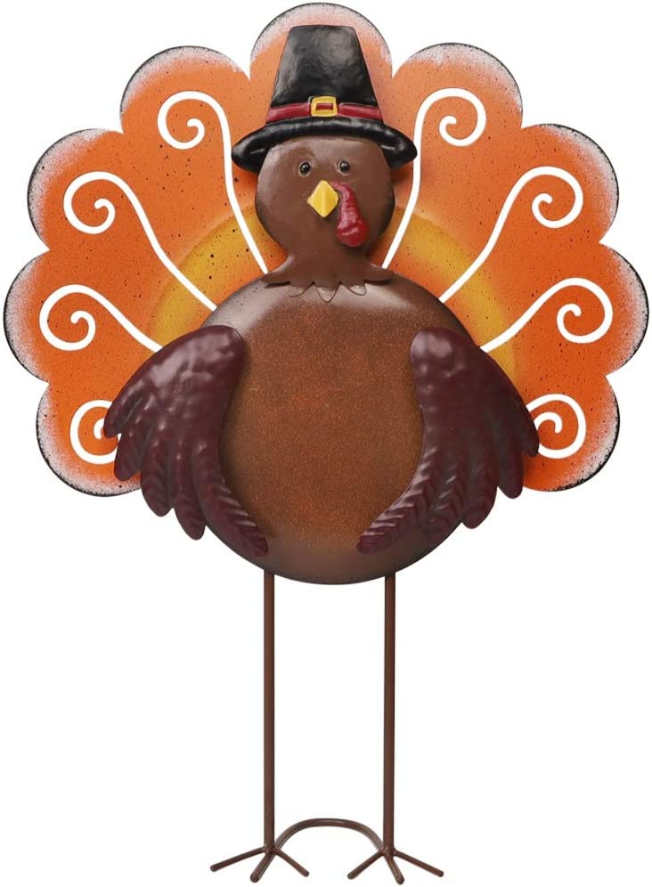 SAND MINE Vintage Metal Free Standing Turkey Decoration for Autumn Fall Harvest Thanksgiving Home Decoration