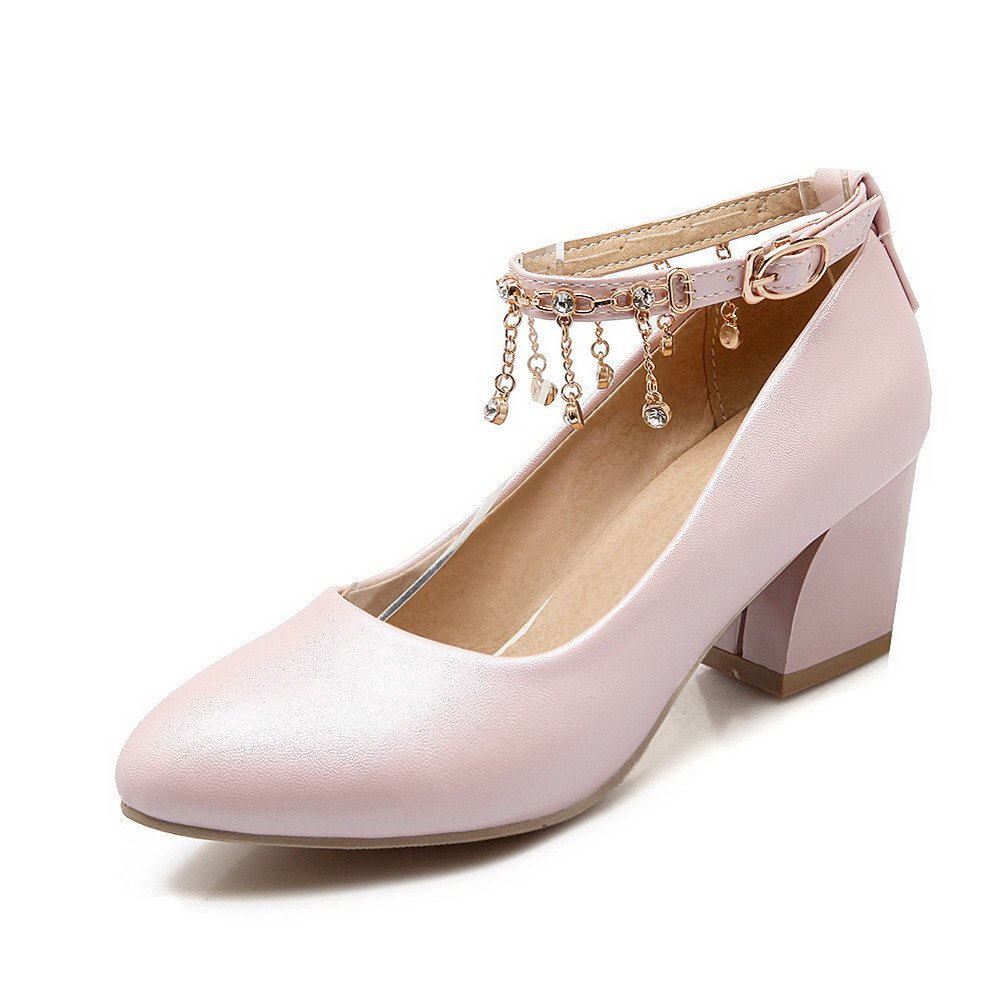 VogueZone009 Women's Kitten-Heels Solid Buckle Soft Material Pointed Closed Toe Pumps-Shoes, Pink, 40