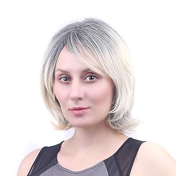 wig Peluca de Pelo Corto de Las Mujeres Flequillo Oblicuo Negro Degradado Blanco Esponjoso párrafo Corto