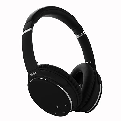 Noise Cancelling Headphones, Nidio Bluetooth Wireless Over Ear Headset with 20 Hours Playtime, Foldable Earphones with Powerful Bass, Lightweight and Build in Mic and Volume Control for iPhone, Android Phones & Tablets, PC and More (Dual 40 mm Drivers, CVC 6.0 Noise Cancelling) - Black