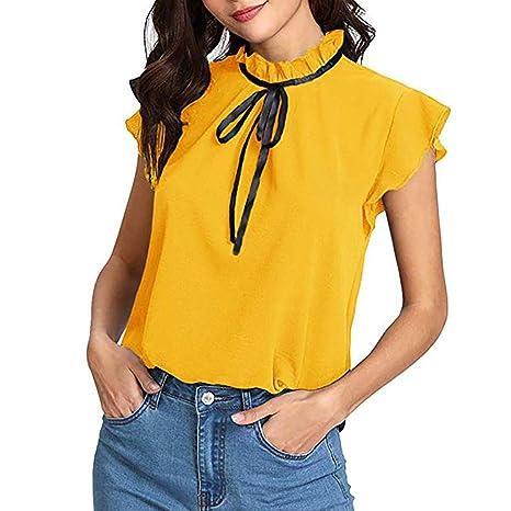 ZODOF Camiseta Basica Mujer Camiseta de Manga Corta con Pajarita para Mujer Blusa de Gasa Maciza: Amazon.es: Ropa y accesorios