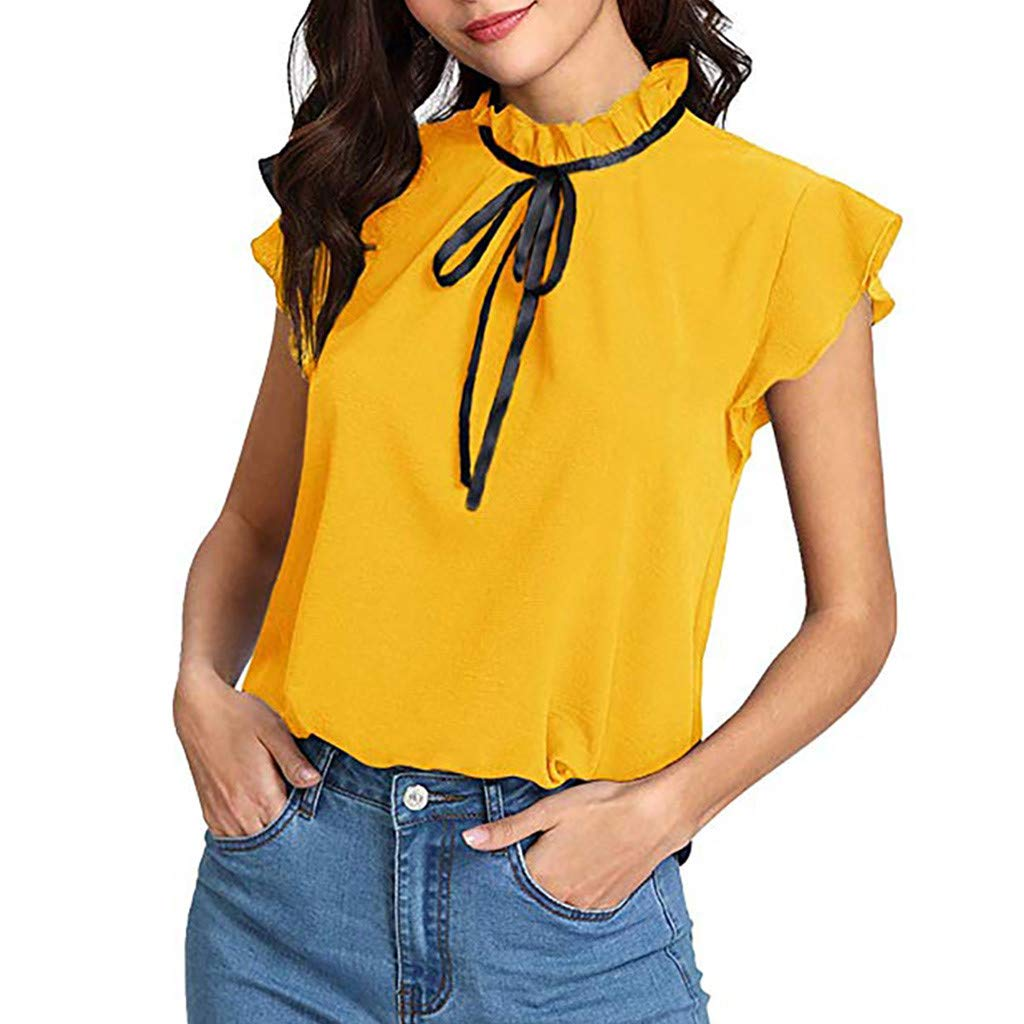 Short Sleeve Tee Blouse for Women,Amiley Womens Casual Cap Sleeve Bow Tie T-Shirt Solid Chiffon Blouse Tops Blouses (X-Large, Yellow)
