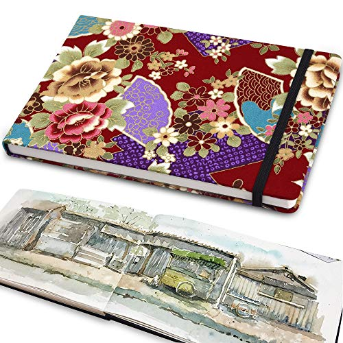Classic Travel Journal with Pen Loop, Handmade Fabric Blank Hardcover Notebook,220gsm Premium Thick Paper, Fine Inner Pocket, Perfect for School & Office Supplies Peony