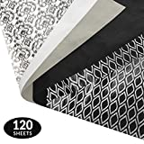 Black and White Gift Wrapping Tissue Paper Set - 120 Sheets - Patterned and Solid Color