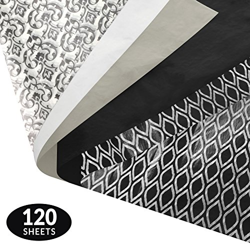 Black and White Gift Wrapping Tissue Paper Set - 120 Sheets - Patterned and Solid Color - Patterned Tissue
