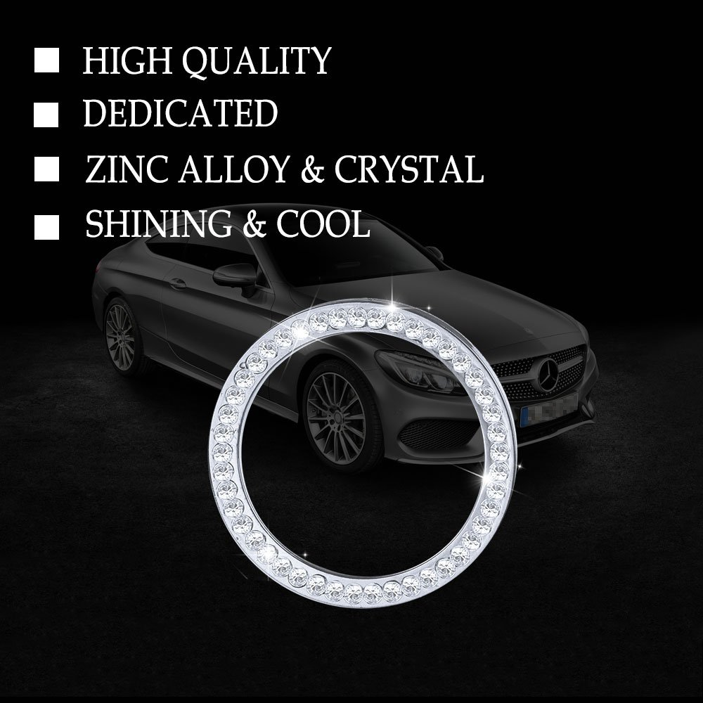 Clock PGONE Mercedes Accessories Benz Parts Trim Clock Round Center Console Panel Caps Covers Decals Stickers Interior Visors Decorations W205 W213 C217 C E S Class AMG Women Men Bling Crystal