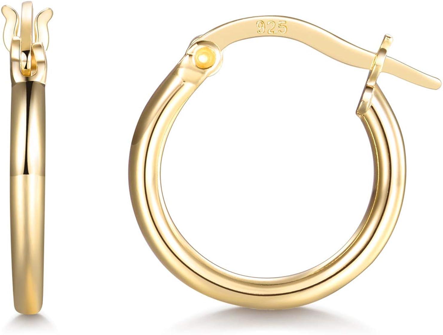 Silver Hoop Earrings for Women Men Girls- Cartilage Earring Small Hoop Earrings Hypoallergenic 925 Sterling Silver Tragus Earrings(14mm, 16mm, 20mm)
