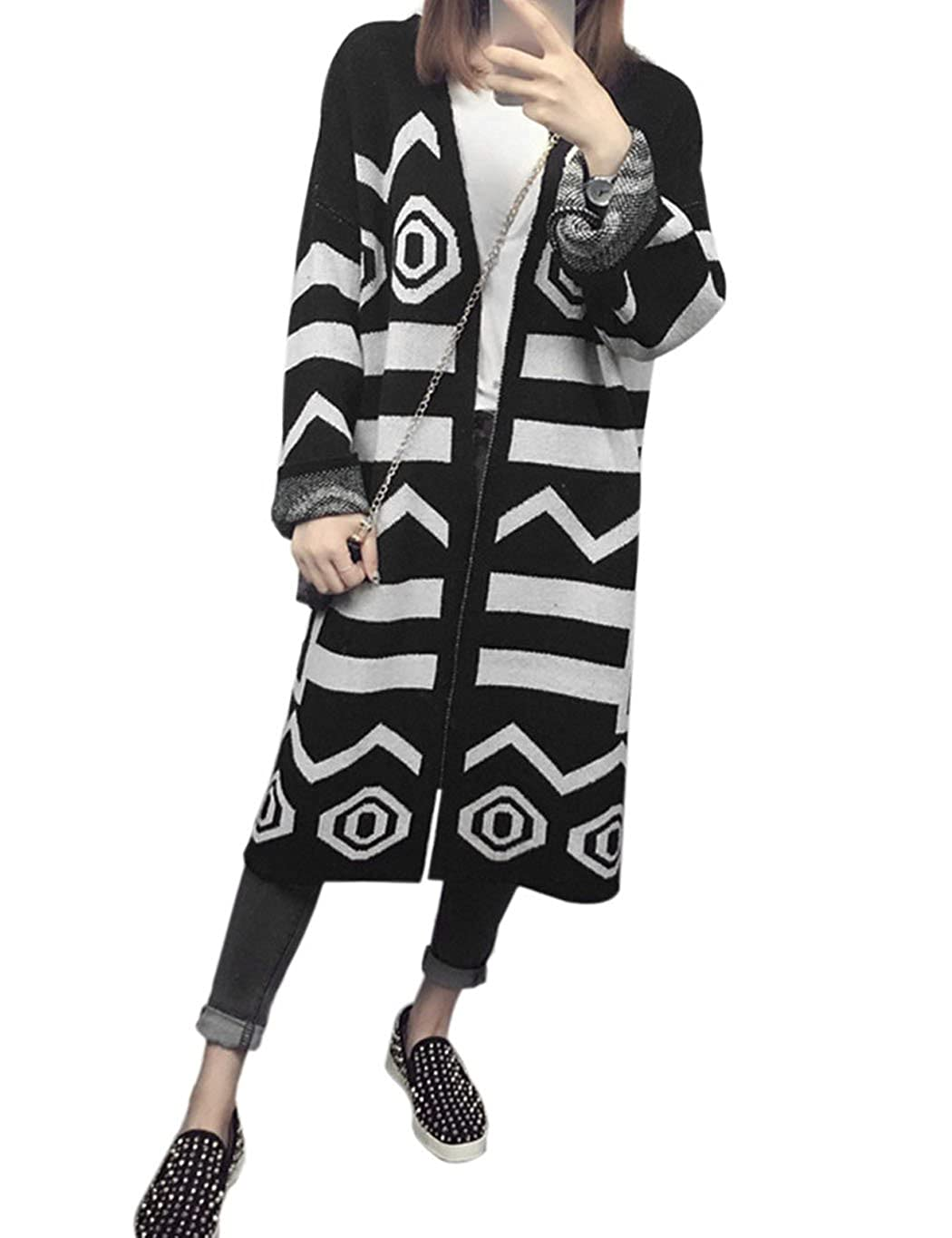 2e7a34f6428 CRAVOG Women s Long Sleeve Open Front Geometric Long Cardigan Sweater (Free  Size