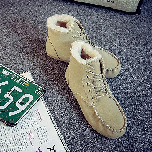 Donna Inverno Corsa Stringate Warm Shoes Sneakers Caldo Sportive Scarpe Stivali Boots Fashion Winter Da Oyedens Short Beige Outdoor Snow Rwx85qn