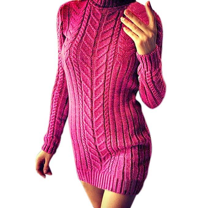 Luckycat Vestido de Manga Larga con Cuello Redondo y suéter de Manga Larga de Invierno cálido para Mujer: Amazon.es: Ropa y accesorios