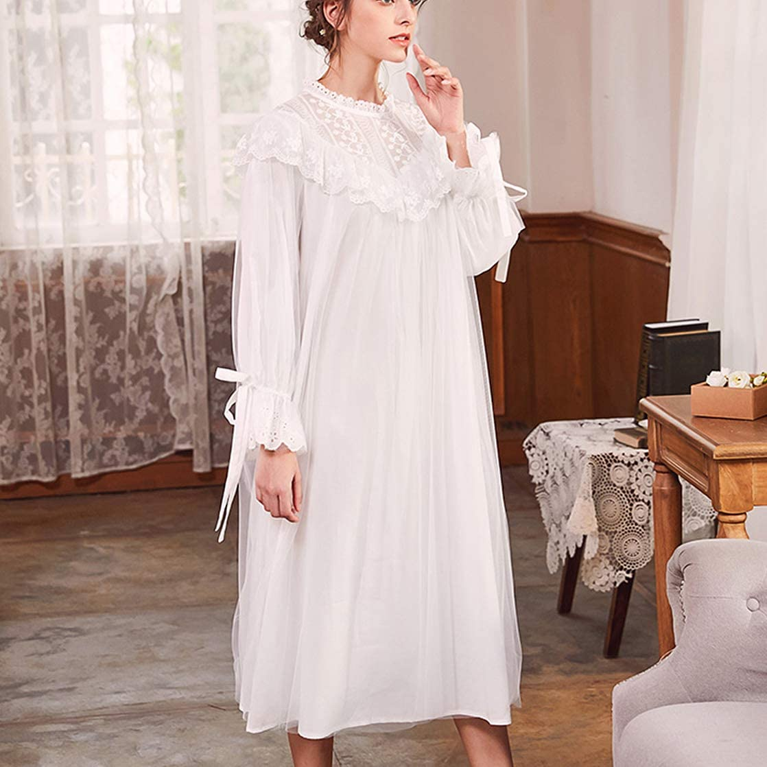 Victorian Nightgowns, Nightdress, Pajamas, Robes Womens Vintage Victorian Cotton Nightgown Princess Peignoir Girl Knit Jersey Front Lace Sleepwear S-XL $38.99 AT vintagedancer.com