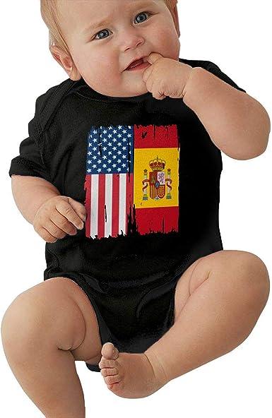 90ioup Americana Bandera de España Bebé de Manga Corta Bebé Niños Niñas Creeper Mono Mameluco: Amazon.es: Ropa y accesorios