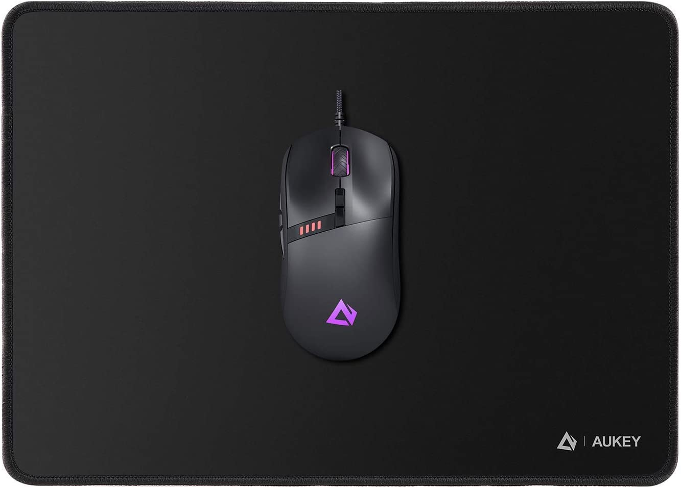 AUKEY Mouse Pad, Gaming Mouse Mat Medium-Size (350 by 250mm) & Knight Gaming Mouse, RGB Wired Gaming Mouse with 10000 DPI