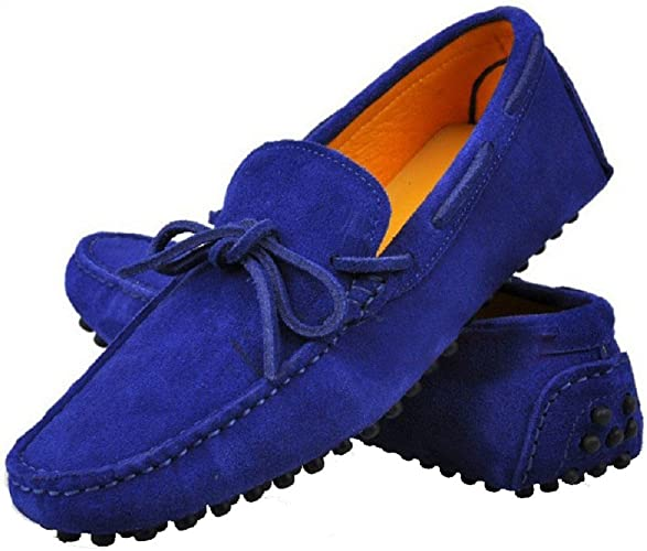 Mens Suede Leather Casual Comfort Slip On Moccasin Penny Driving Loafers Navy