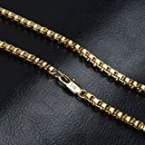 Skyllc® Fashion Men's 4mm Box Chain Necklace with Losbter Clasp 18K Yellow Gold