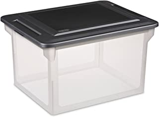 """product image for Sterilite 18689004 18.5"""" X 14"""" X 11"""" File Box Clear Base With Black Lid"""