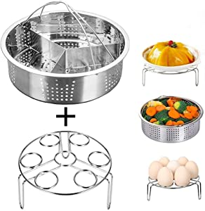 Jsbaby Pressure Cooker Accessories Steam Basket with Egg Steamer Rack, Divider, Fits Instant Pot 5,6,8 qt Pressure Cooker, Stainless Steel, Set of 3, Energy Class A + (0.5) (3)