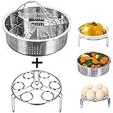 Jslai Instant Pot Accessories Steamer Basket with Egg Steamer Rack, Divider, Fits Instant Pot 5,6,8 qt Pressure Cooker, Stainless Steel, 3 Pcs Set, Energy Class A+