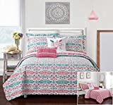 Chic Home 7 Piece Taree REVERSIBLE Ikat bohemian designer printed bed in a bag, includes LOVE and pom pom pillow Twin X-Long Quilt Set Aqua