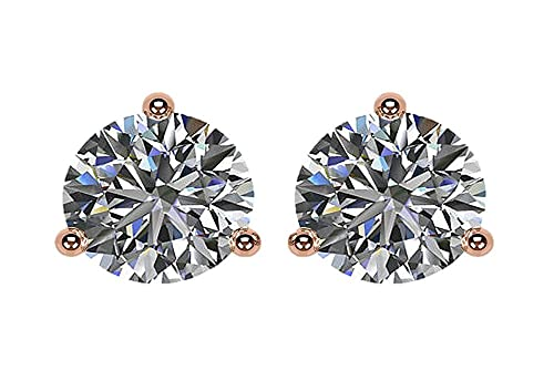 cab01cc4e NANA 14k Gold Post & Sterling Silver 3 Prong CZ Stud Earrings -Rose Plated- 5.5mm-1.50cttw: Amazon.ca: Jewelry