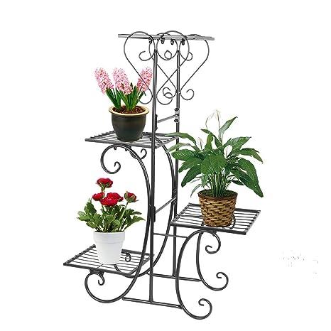 60a6a9650e84 Amazon.com : Moutik Corner Metal Flower Holder Racks 4 Tier Shelves for  Indoor Outdoor Plant Flower Stand Rack Shelf for Multiple Plants, Black :  Garden & ...