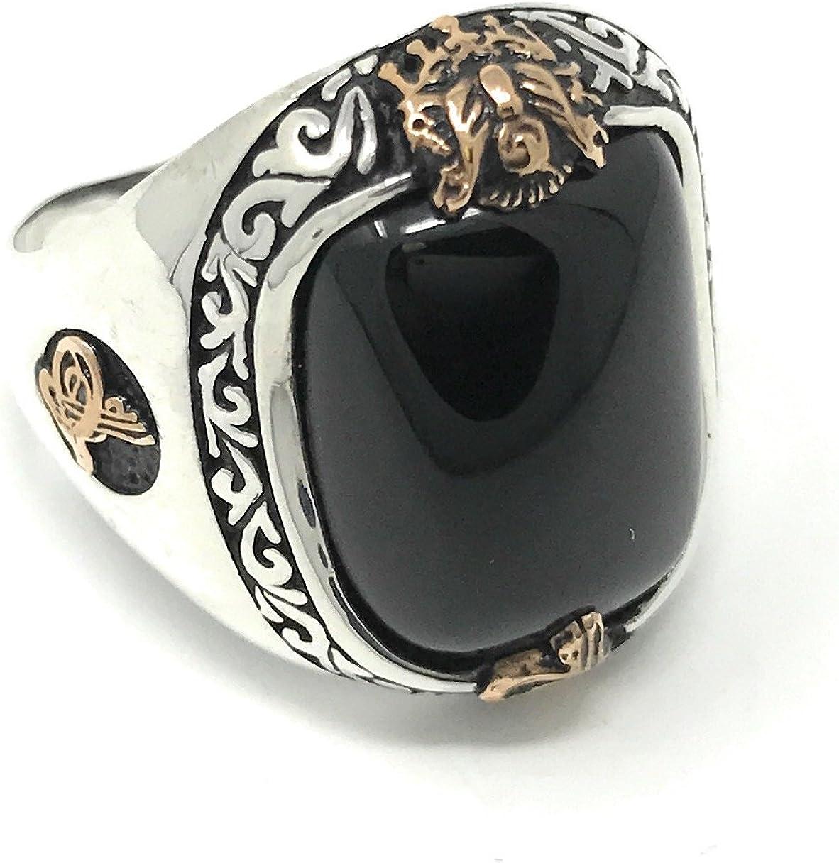 13 K61S KAR 925 Sterling Silver Sapphire Enameled Stone Ottoman Mens Ring