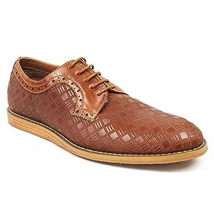 New Men's Cap Toe Two Tone Dress Shoes Lace up Oxfords 19507 (10.5 U.S (MEDIUM) D, COGNAC/BROWN)
