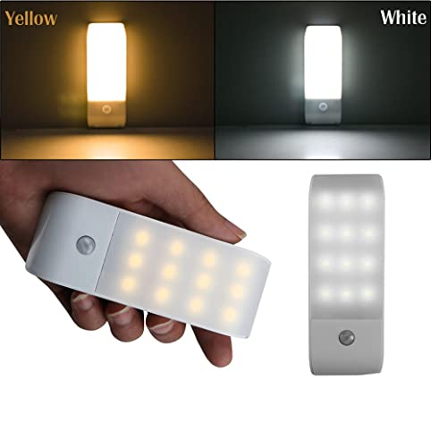 Alotm Rechargeable Motion Sensor Closet Light, 12 LED Portable Wireless  Motion Activated Auto On/
