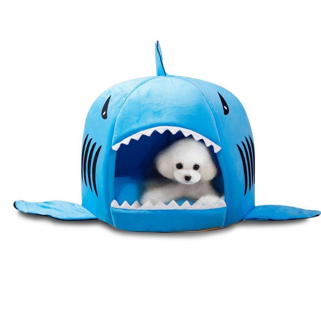 Pet Warm Soft Sleeping Bag perro de tiburón perro de la perrera de cama Casa (L, Azul): Amazon.es: Hogar