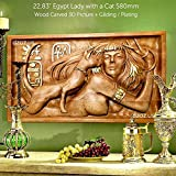 29'' Egypt Lady with a Cat 58cm Wood carving 3D picture Gilding / Plating