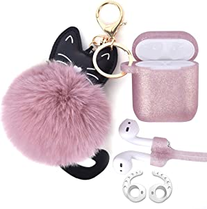 Airpods Case - Airspo Case for Airpods Silicone Case Cover Compatible with Apple Airpods 1/2 Protective Skin with Fur Ball Keychain/Magnetic Strap/Ear Hooks (Glittery Rose Gold)