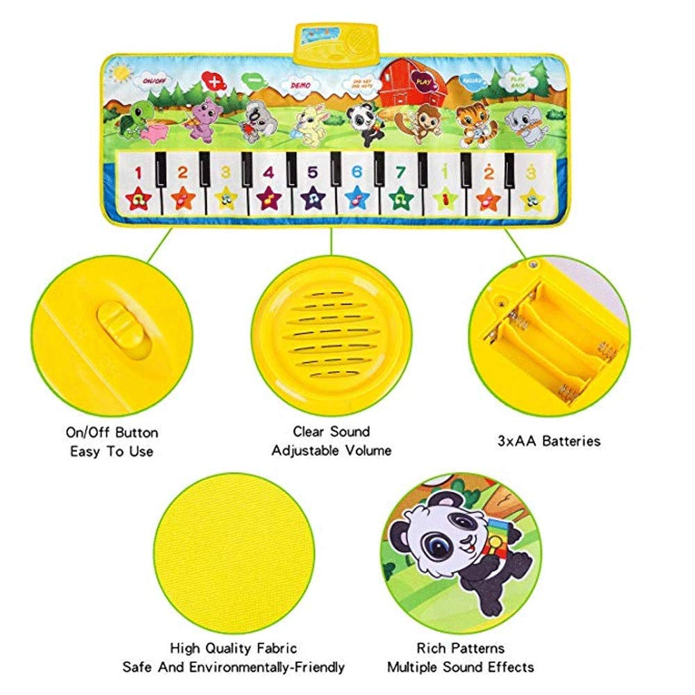 Mopoq Fresh Family Piano Mat Children's Music Mat Dance Mat Educational Toys Birthday Christmas Easter Boys And Girls Gifts Children Early Learning Puzzle Foot Steps Grand Piano Dance Mat Music Mat Pa by Mopoq (Image #3)