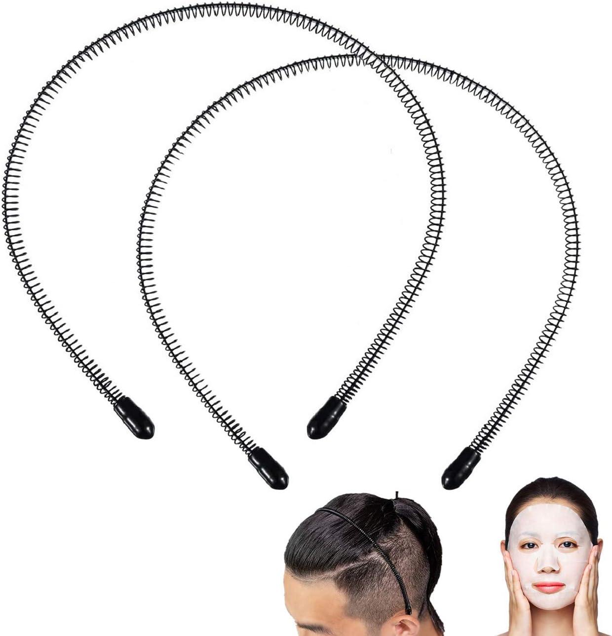 2pcs Unisex Black Wavy Hair Head Hoop Band Sport Headband Hairband Adult Men H