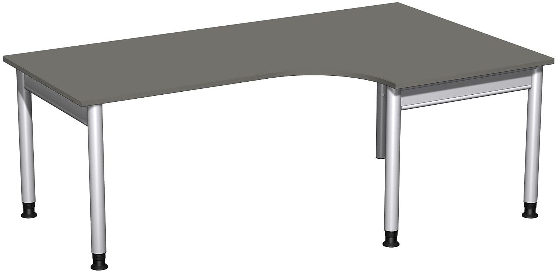 Geramöbel PC-Schreibtisch rechts höhenverstellbar, 2000x1200x680-820, Graphit/Silber