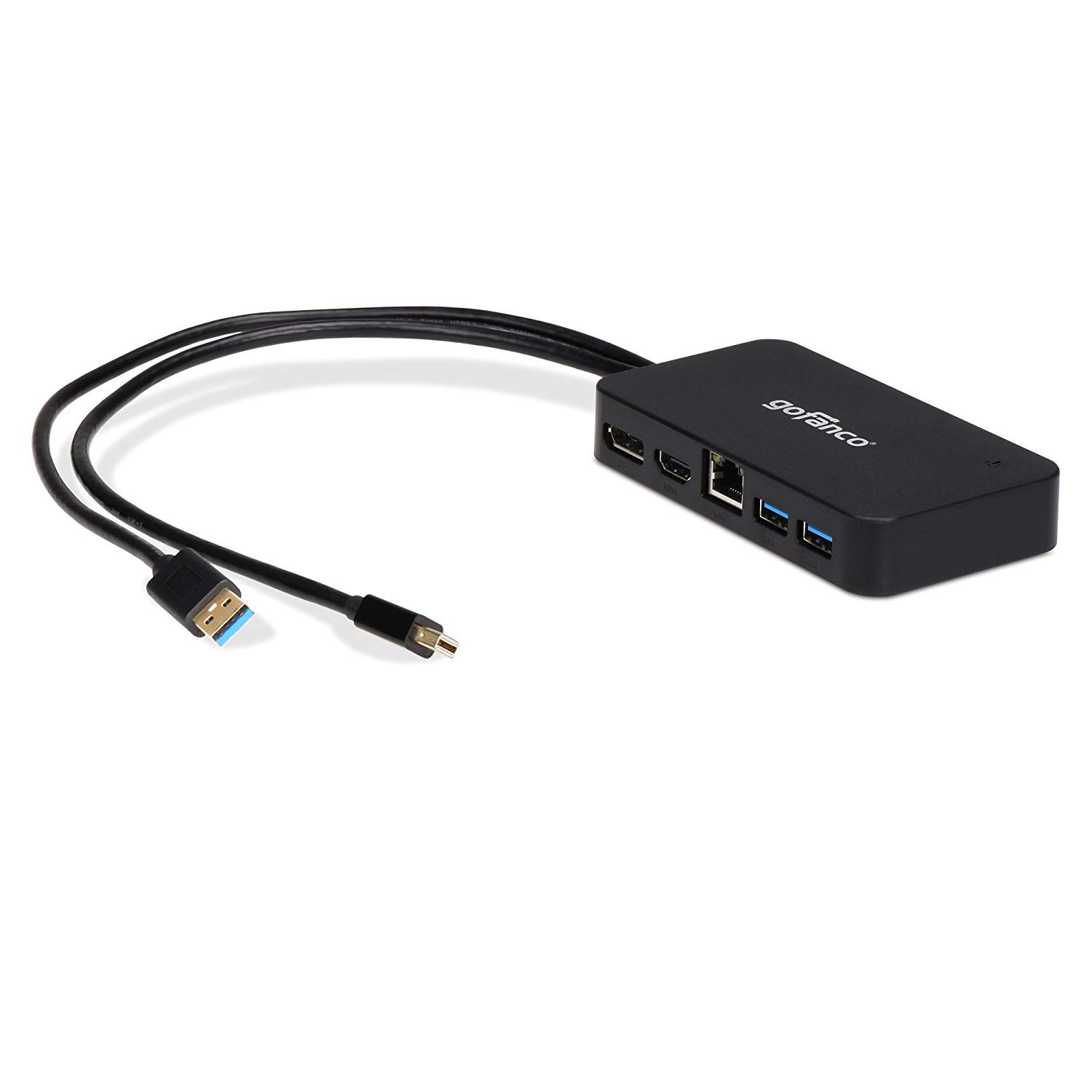 gofanco Mini DisplayPort(Thunderbolt 2) Video Dock/Docking Station with HDMI or DisplayPort, USB 3.0 and Gigabit Ethernet for Surface Pro, MacBook and PC - Thunderbolt 2 to DP or HDMI Adapter Hub by gofanco