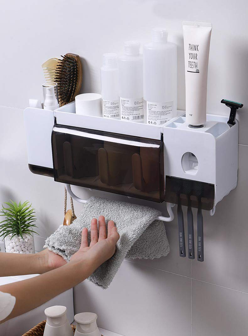 BHeadCat Automatic Toothpaste Dispenser Squeezer Wall Mount and Anti-dust Toothbrush Holder, Multi-Functional Space Saving Toothbrush Organizer with 3 Cups,4 Brush Slots and Towel Bar No Drill Need by BHeadCat