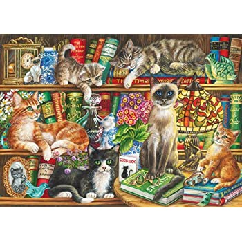 Gibsons Puss In Books Jigsaw Puzzle 1000
