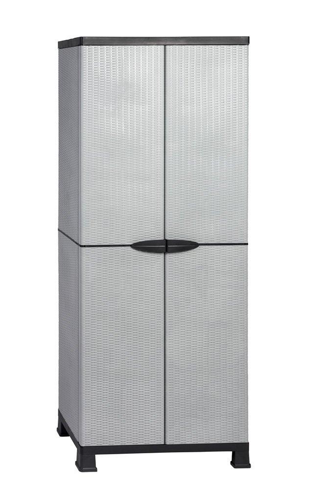 Kunststoffschrank Madera, im Rattan Design mit drei verstellbaren Einlegeboden mit jeweils 20kg Tragkraft - hohe Version RAM
