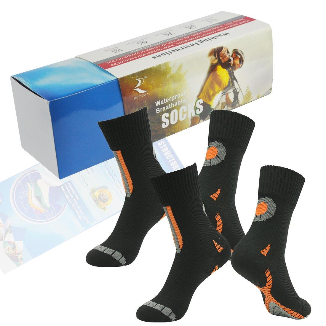 Waterproof Breathable Socks, RANDY SUN Women's 2 Pairs Performance Top Colorful Trail Socks Novelty Socks Black Size S by RANDY SUN