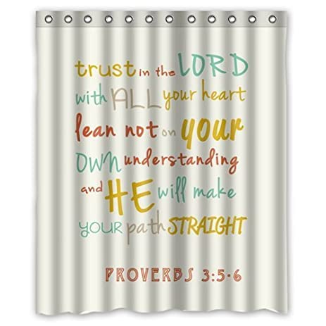 Trust In The Lord With All Your Heart Bible Verse Waterproof Polyester Fabric Shower Curtain