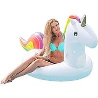 Großes Aufblasbares Einhorn, 200x100x90cm - Einhorn Luftmatratze, Schwimmtier Schwimmreifen Spielzeug, Wassertiere Aufblasbar für den Pool Strand Sommer – Inflatable Unicorn für Kinder & Erwachsene