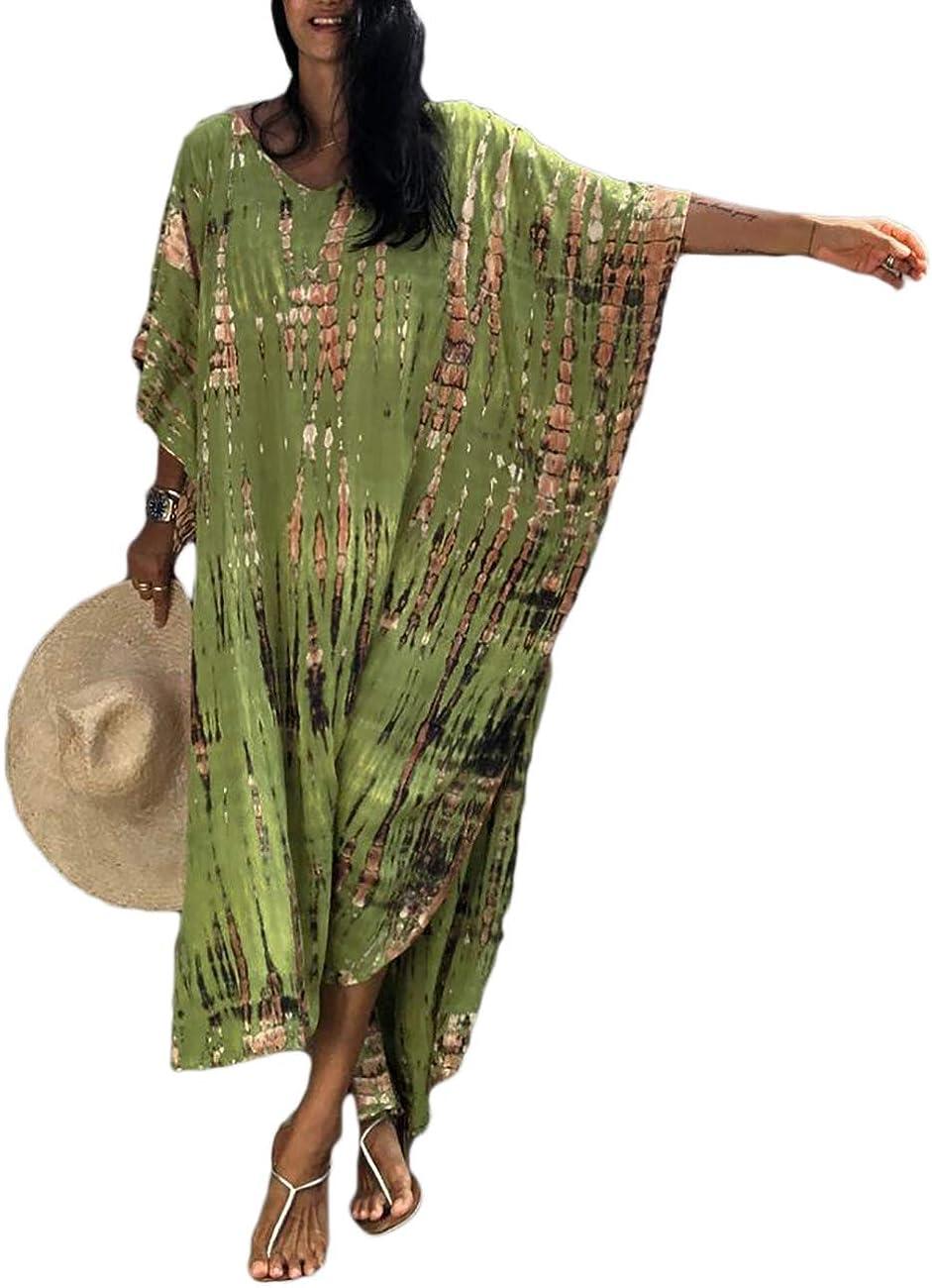 Bsubseach Women Print Beach Kaftan Dress Short Sleeve Plus Size Bathing Suit Cover Ups