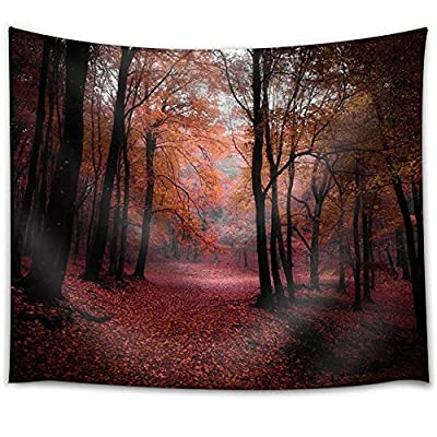 Red Leaves Covering The Forest During Fall - Fabric Tapestry, Home Decor - 51x60 inches