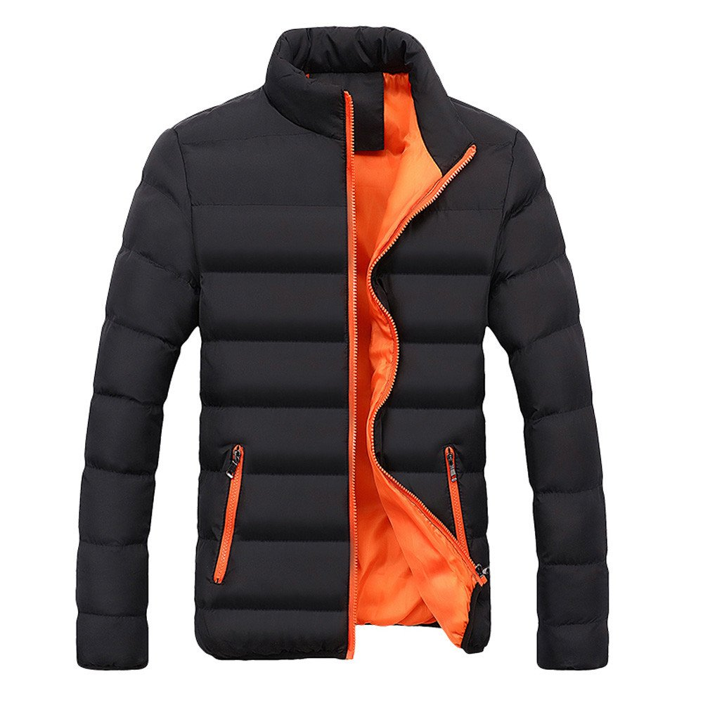 Gergeos Men Parka Outerwear Winter Warm Slim Fit Thick Bubble Coat Jacket(Orange,XXXXL)