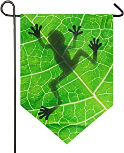 Oarencol Frog Silhouette Garden Flag Green Leaf Animal Double Sided Home Yard Decor Banner Outdoor 12.5 x 18 Inch