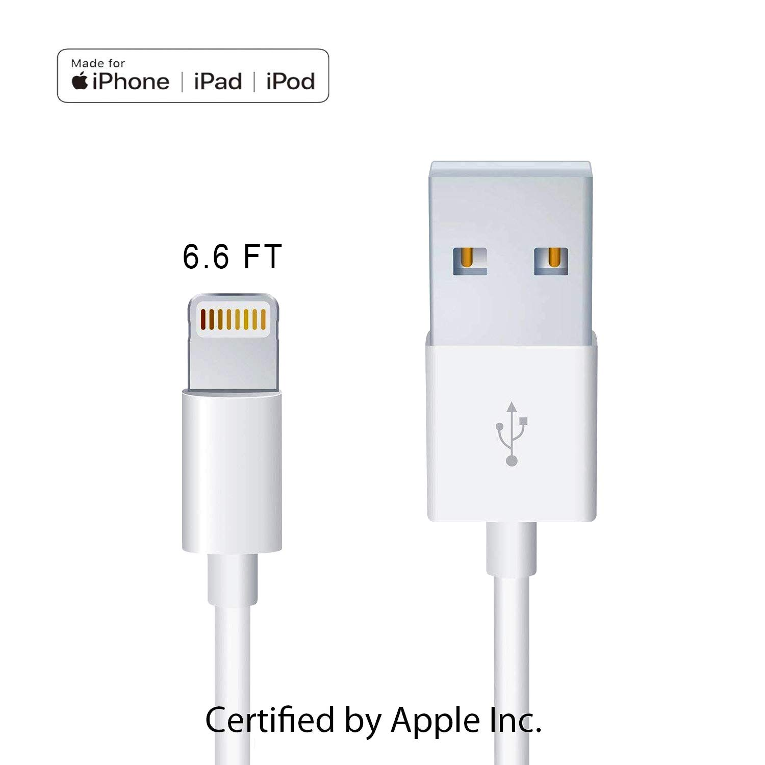 Apple Original Charger [Apple MFi Certified] Lightning to USB Cable Compatible iPhone Xs Max/Xr/Xs/X/8/7/6s/6plus/5s,iPad Pro/Air/Mini,iPod Touch(White 2M/6.6FT) Original Certified