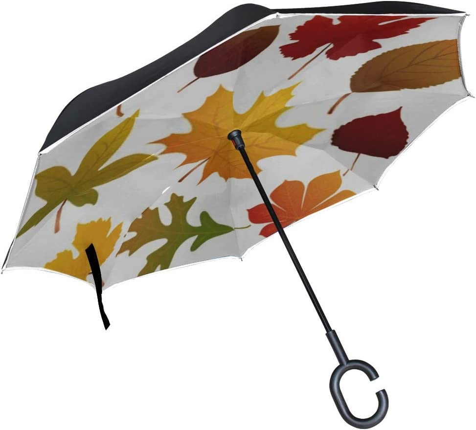 Double Layer Inverted Inverted Umbrella Is Light And Sturdy Autumn Leaves Reverse Umbrella And Windproof Umbrella Edge Night Reflection