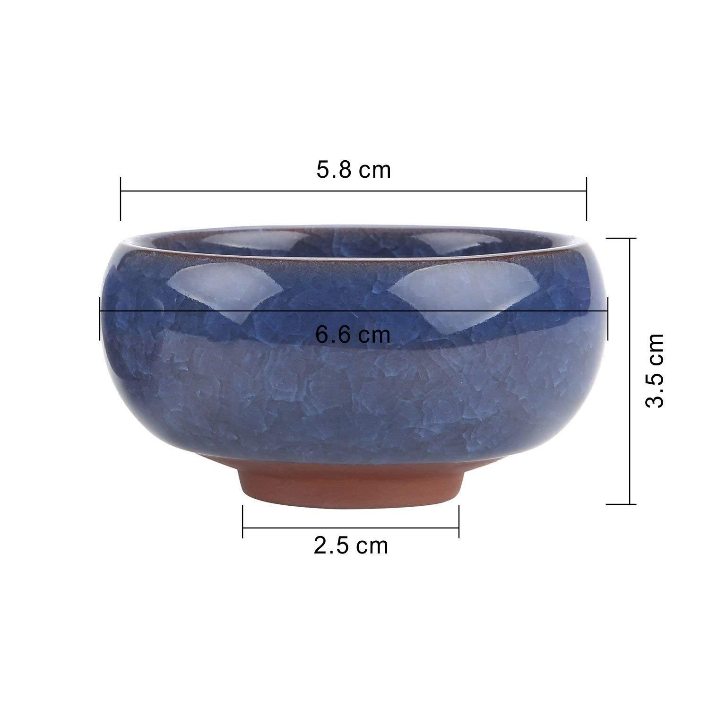 Fasfvv 9.5CM Set of 6 Ice Crack Zisha SerialCeramica Vaso di Fiori Pianta Succulente Cactus Vaso di Fiori Giardino i vasi di Fiori vasi di Piante