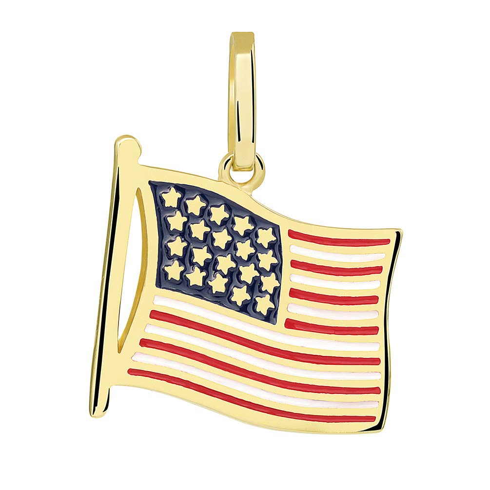 14k Yellow Gold National Flag of the United States of America Pendant Necklace