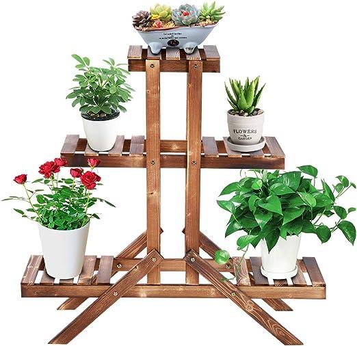 Ejoyous - Estantería para plantas de 3 capas para balcón, escalera para flores, escalera para balcón, jardín, césped, macetas, 85 x 85 x 26 cm: Amazon.es: Jardín